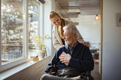 Daughter helping elder father - personal representative concept